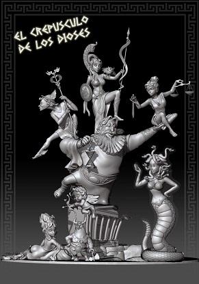 Boceto Falla Mayor 2020 - Lema: El Olimpo de los dioses. - Autor: Paco y David